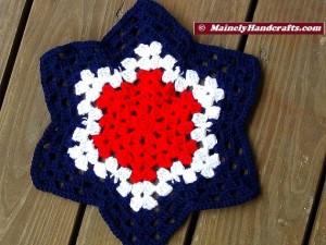 Patriotic Star Doily - Red, White, and Blue Granny Star - Handmade Crochet Doily