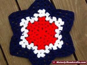 Patriotic Star Doily - Red, White, and Blue Granny Star - Handmade Crochet Doily 4