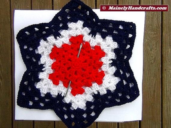 Patriotic Star Doily Red White And Blue Granny Star Handmade