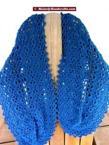 Summer Wrap - Crocheted Wrap - Denim Blue Shawl - Peacock Blue 2