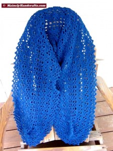 Summer Wrap - Crocheted Wrap - Denim Blue Shawl - Peacock Blue 4