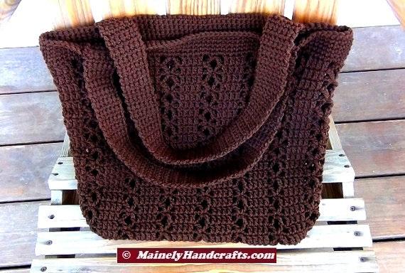 Brown Shoulder Bag Beach Bag And Totes Two Handled Crochet Bag