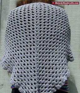 Womens Shawl, Granny Shawl, Fashion Shawl, Triangle Shawl, Crocheted Gray Wrap 2