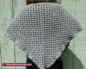 Womens Shawl, Granny Shawl, Fashion Shawl, Triangle Shawl, Crocheted Gray Wrap 3