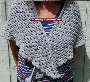 Womens Shawl, Granny Shawl, Fashion Shawl, Triangle Shawl, Crocheted Gray Wrap