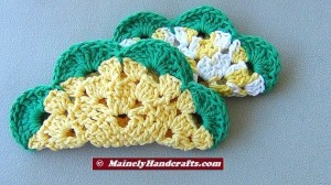 Crochet Dishcloth - Flower Wash Cloths - set of 2 2
