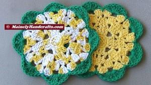 Crochet Dishcloth - Flower Wash Cloths - set of 2