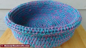 Cotton Candy Blue and Pink Crocheted Basket - Rolled Brim Basket 2