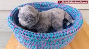 Cotton Candy Blue and Pink Crocheted Basket - Rolled Brim Basket