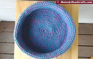 Cotton Candy Blue and Pink Crocheted Basket - Rolled Brim Basket 4