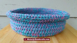 Cotton Candy Blue and Pink Crocheted Basket - Rolled Brim Basket 5