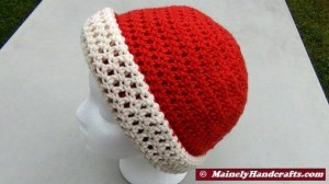 Oatmeal and Red Hat - Winter Hat - Reversible Head Wear - Rolled Brim Hat 2