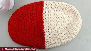 Oatmeal and Red Hat - Winter Hat - Reversible Head Wear - Rolled Brim Hat 3
