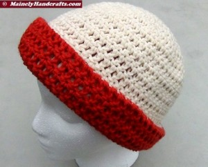 Oatmeal and Red Hat - Winter Hat - Reversible Head Wear - Rolled Brim Hat