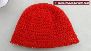 Oatmeal and Red Hat - Winter Hat - Reversible Head Wear - Rolled Brim Hat 4