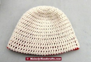 Oatmeal and Red Hat - Winter Hat - Reversible Head Wear - Rolled Brim Hat 5