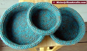 Robins Egg Blue and Taupe Crochet Baskets - Crocheted Nested Bowls - Rolled Brim Baskets - Set of 3 Nested Baskets 2