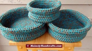 Robins Egg Blue and Taupe Crochet Baskets - Crocheted Nested Bowls - Rolled Brim Baskets - Set of 3 Nested Baskets 4