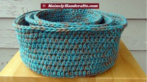Robins Egg Blue and Taupe Crochet Baskets - Crocheted Nested Bowls - Rolled Brim Baskets - Set of 3 Nested Baskets 5