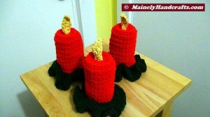Holiday Crochet - Flameless Candle - Red Christmas Decor 3