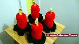 Holiday Crochet - Flameless Candle - Red Christmas Decor 4