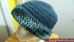 Cadet Blue and Variegated Colonial Blues Hat - Winter Hat - Reversible Head Wear - Rolled Brim Hat Mainely Handcrafts 3