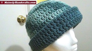 Cadet Blue and Variegated Colonial Blues Hat - Winter Hat - Reversible Head Wear - Rolled Brim Hat Mainely Handcrafts