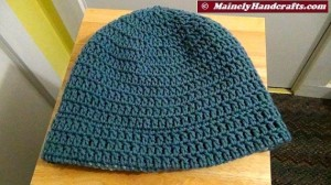 Cadet Blue and Variegated Colonial Blues Hat - Winter Hat - Reversible Head Wear - Rolled Brim Hat Mainely Handcrafts 4