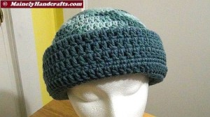 Cadet Blue and Variegated Colonial Blues Hat - Winter Hat - Reversible Head Wear - Rolled Brim Hat Mainely Handcrafts 5