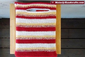 Crochet Tote Bag - Cotton Tote Bag - Country Red, Yellow, White, Variegated Stripe Sac Mainely Handcrafts 2