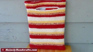 Crochet Tote Bag - Cotton Tote Bag - Country Red, Yellow, White, Variegated Stripe Sac Mainely Handcrafts