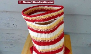 Crochet Tote Bag - Cotton Tote Bag - Country Red, Yellow, White, Variegated Stripe Sac Mainely Handcrafts 4