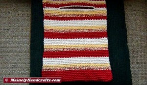 Crochet Tote Bag - Cotton Tote Bag - Country Red, Yellow, White, Variegated Stripe Sac Mainely Handcrafts 5
