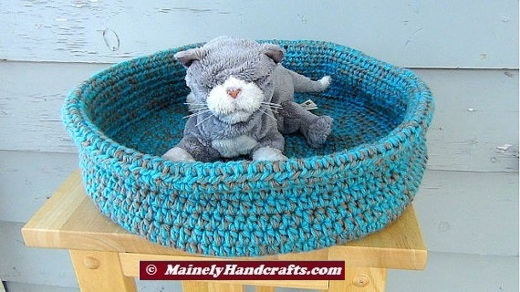 Pet Basket Pet Bed Dog Bed Cat Bed Crochet Rolled Brim
