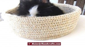 Beige Pet Basket - Soft Crochet Cat Bed - 16 inch Basket 5