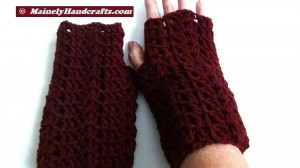 Dark Red Fingerless Gloves - Crocheted Claret Wrist Warmers 2