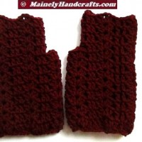 Dark Red Fingerless Gloves - Crocheted Claret Wrist Warmers
