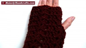 Dark Red Fingerless Gloves - Crocheted Claret Wrist Warmers 3