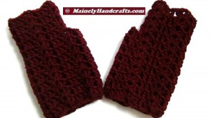 Dark Red Fingerless Gloves - Crocheted Claret Wrist Warmers 4