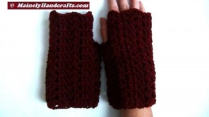 Dark Red Fingerless Gloves - Crocheted Claret Wrist Warmers 5