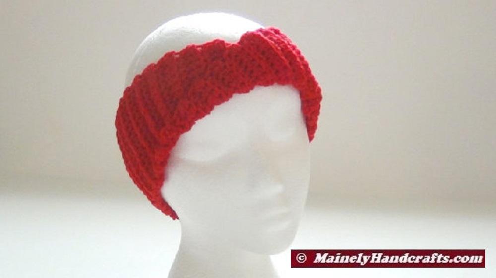 Crochet Headband Vibrant Red Headband Ear Warmer