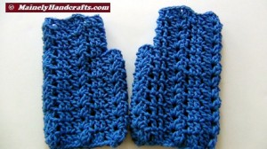 Crochet Shell Fingerless Gloves - Blue Acrylic Hand Warmers 2