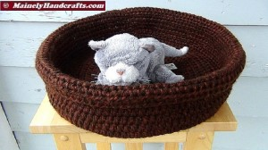 Double Chocolate Brown Basket - Brown Pet Basket - Large Pet Bed - Dog Bed - Cat Bed - Crochet Rolled Brim Basket 2