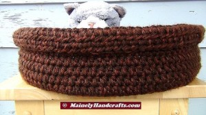 Double Chocolate Brown Basket - Brown Pet Basket - Large Pet Bed - Dog Bed - Cat Bed - Crochet Rolled Brim Basket