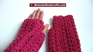 Fingerless Gloves - Light Raspberry Wrist Warmers - Crocheted Lace Fingerless Gloves - Pink Purple Handwear 3