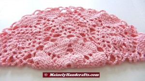 Pink Hearts Doily - Round Table Doily - Worsted Weight Cotton Doily 2