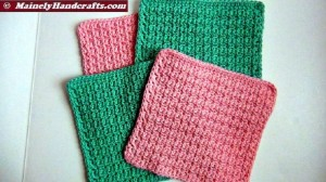 Pink and Green Washcloths, Crochet Dishcloths, Cotton Facecloths, Set of 4 Eco-Friendly Cleaning Cloths 2