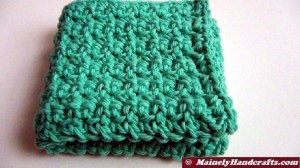 Pink and Green Washcloths, Crochet Dishcloths, Cotton Facecloths, Set of 4 Eco-Friendly Cleaning Cloths 3