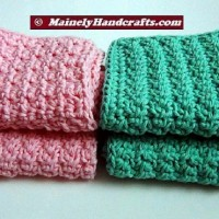 Pink and Green Washcloths, Crochet Dishcloths, Cotton Facecloths, Set of 4 Eco-Friendly Cleaning Cloths THUMB