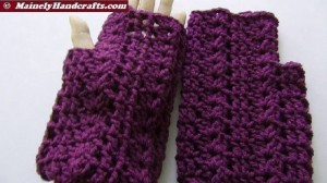 Purple Fingerless Gloves - Wrist Warmers - Grape Fingerless Mitts 2